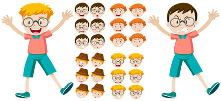 little boys: Little boys with facial expressions illustration
