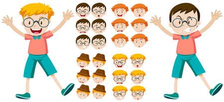 expresiones faciales: Los niños pequeños con expresiones faciales ilustración