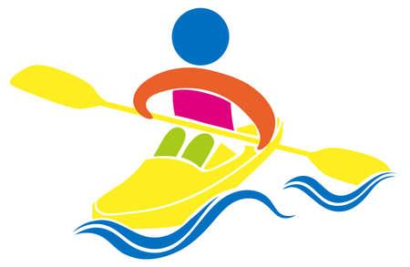 at leisure: Kayaking icon on white background illustration