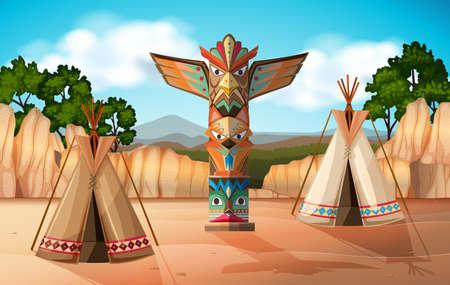 teepee: Scene with teepee and totem pole illustration