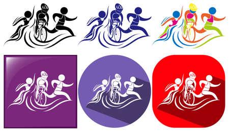 Triathlon icon in three designs illustration
