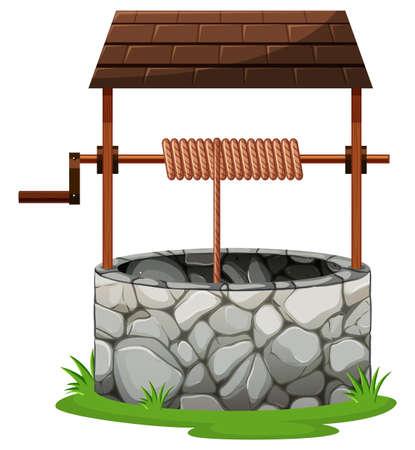 Pozzo in pietra con l'illustrazione sul tetto