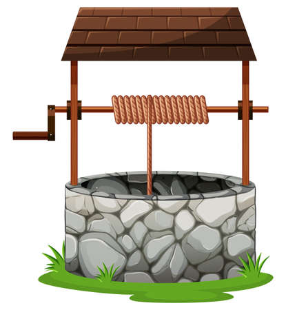 rooftop: Stone well with rooftop illustration