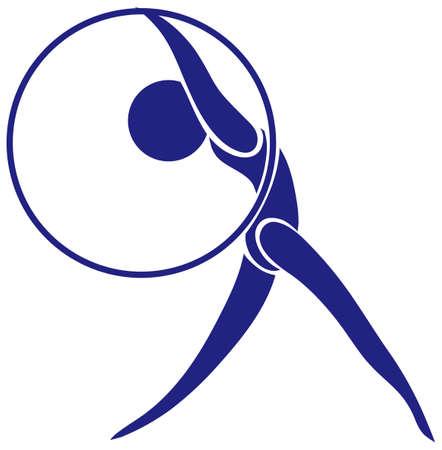 hulahoop: design with gymnastics in blue color illustration