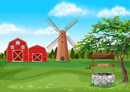 farmyard: Barns and windmill in the farmyard illustration