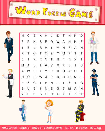occupations: Word puzzle game template with occupations illustration