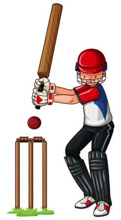 hit man: Man athlete playing cricket illustration Illustration