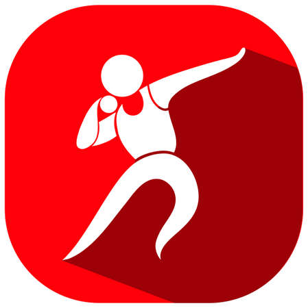 put: Shot put icon on red background illustration