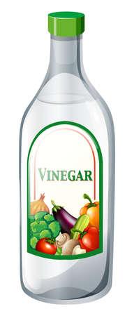 close up food: Bottle of vegetable vinegar illustration Illustration