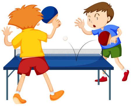 People playing table tennis illustration Illustration