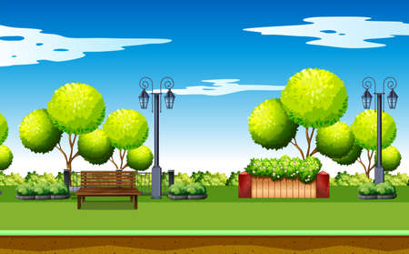 parks: Park scene with trees and benches illustration