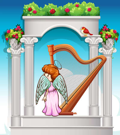 heaven: Angel with harp in heaven illustration