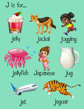 phonics: Words begin with letter J illustration
