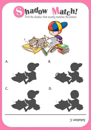 reading books: Game template with shadow matching boy and cat illustration