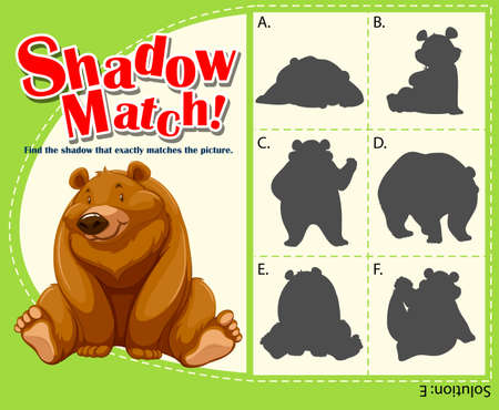 matching: Game template for shadow matching bear illustration Illustration