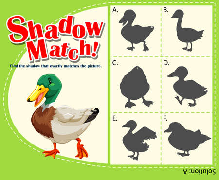 matching: Shadow matching game with duck illustration Illustration