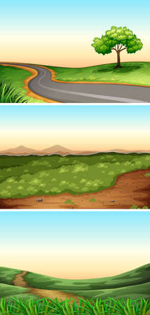 rural scene: Three scenes with road in countryside illustration