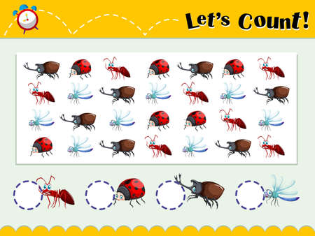 kids background: Game template with counting insects illustration Illustration