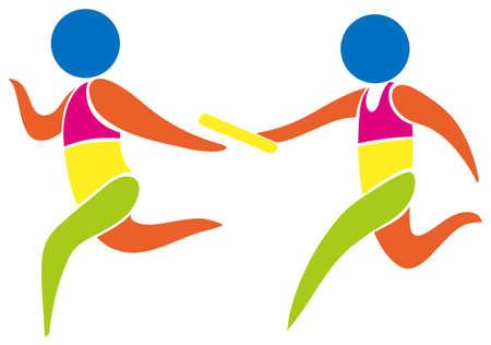 carrera de relevos: icono de la carrera de relevos en colores ilustraci�n Vectores