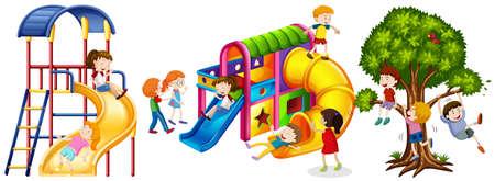 slides: Kids playing on slides illustration