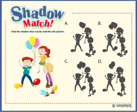 matching: Game template with shadow matching kids illustration