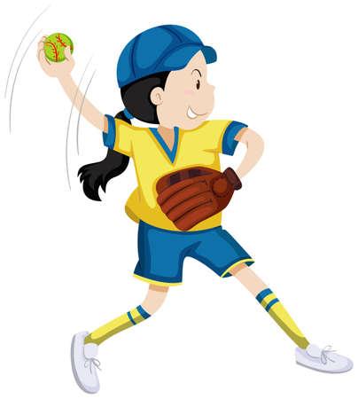 art activity: Girl with softball glove and ball illustration Illustration