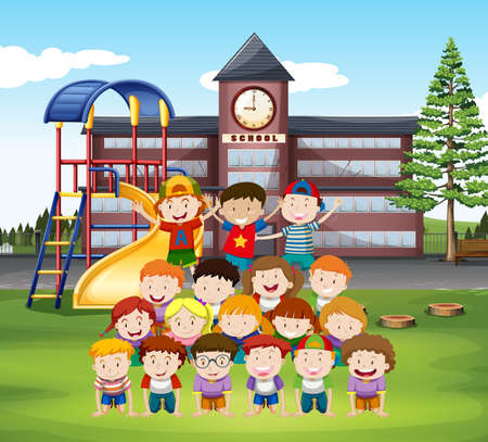 human pyramid: Kids doing human pyramid at school illustration
