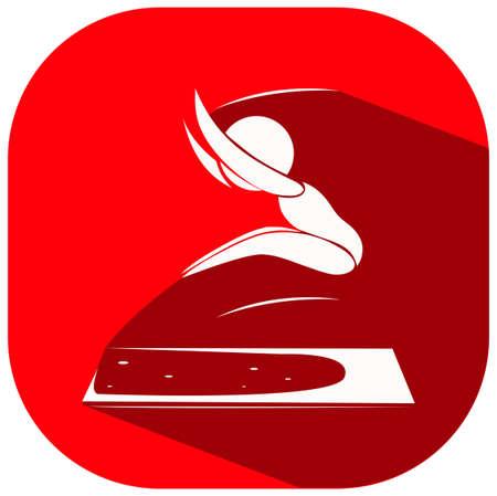 salto de longitud: Diseño del icono del deporte para la ilustración larga de salto Vectores