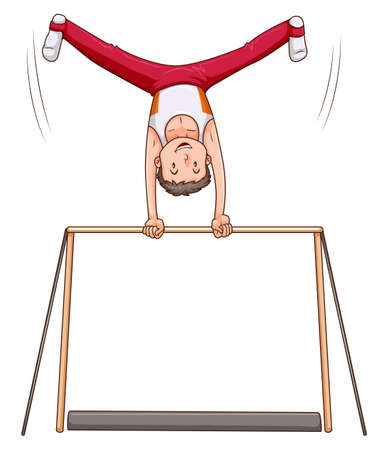 gymnastic: Man athlete doing gymnastics on bar illustration Illustration