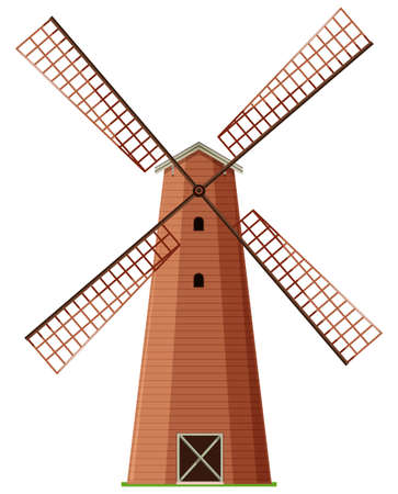 spinning windmill: Windmill made of wood illustration