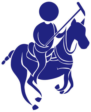 polo: Sport icon for polo in blue illustration