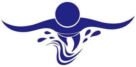 swimming: Swimming icon in blue color illustration