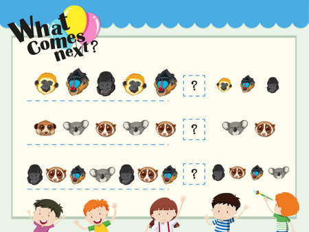 animal heads: Game template with matching animal heads illustration