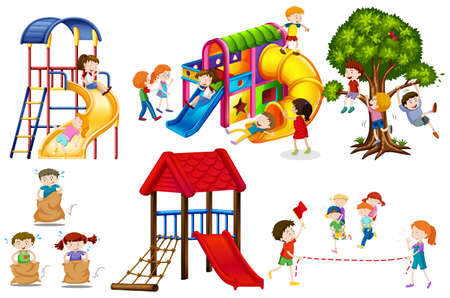 schoolyard: Kids playing games and playing slides illustration