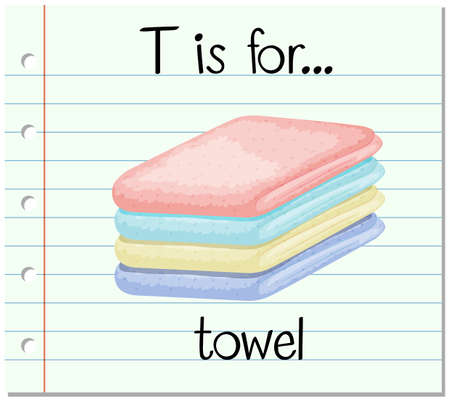 towel: Flashcard letter T is for towel illustration Illustration