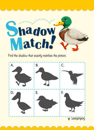 matching: Game template for shadow matching duck illustration
