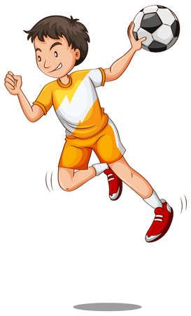 Man with ball playing handball  illustration