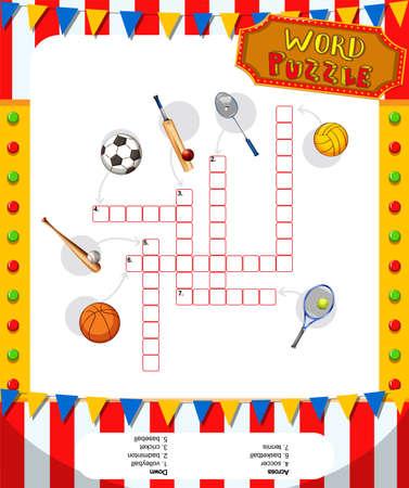futbol infantil: juego de rompecabezas de la palabra con los equipos de deportes de la ilustraci�n