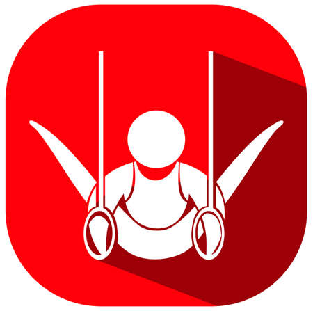 art activity: Gymnastics with ring icon on red background illustration