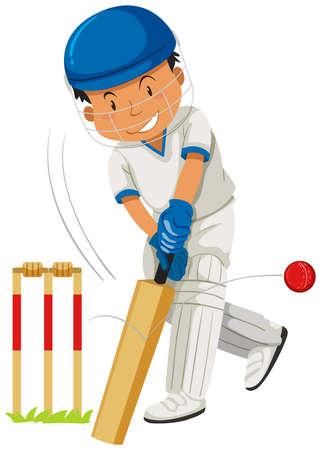 Cricket player hitting ball with bat illustration