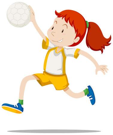 Atleet van de vrouw het spelen handbal illustratie