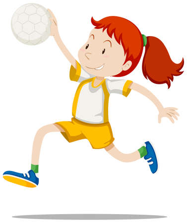 Woman athlete playing handball illustration