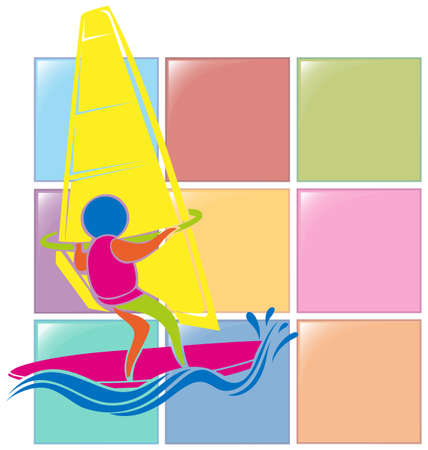 windsurfing: Icono del deporte para el windsurf en colores ilustración