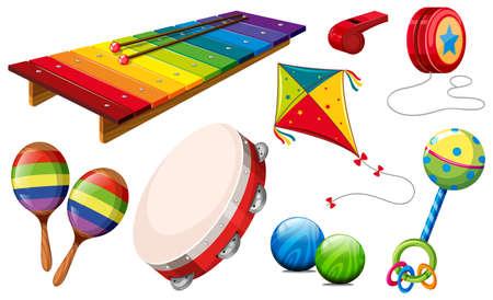 drum set: Different kind of musical instruments and toys illustration Illustration