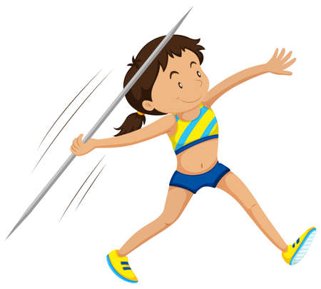 javelin: Woman athlete doing javelin illustration Illustration