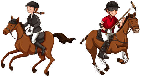 polo: Athletes doing equestrain and polo illustration
