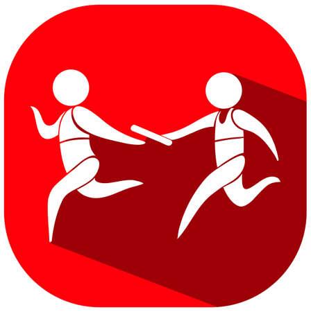 carrera de relevos: Icono del deporte con el relé de funcionamiento ilustración