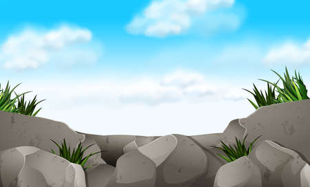cliffs: Scene with stone and grass illustration