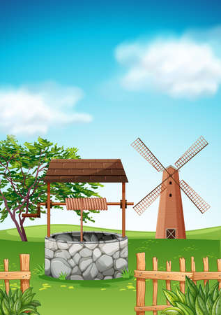 rural scene: Scene with windmill and well in the farm illustration Illustration