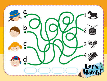 matching: Game template for matching kids and toys illustration Illustration